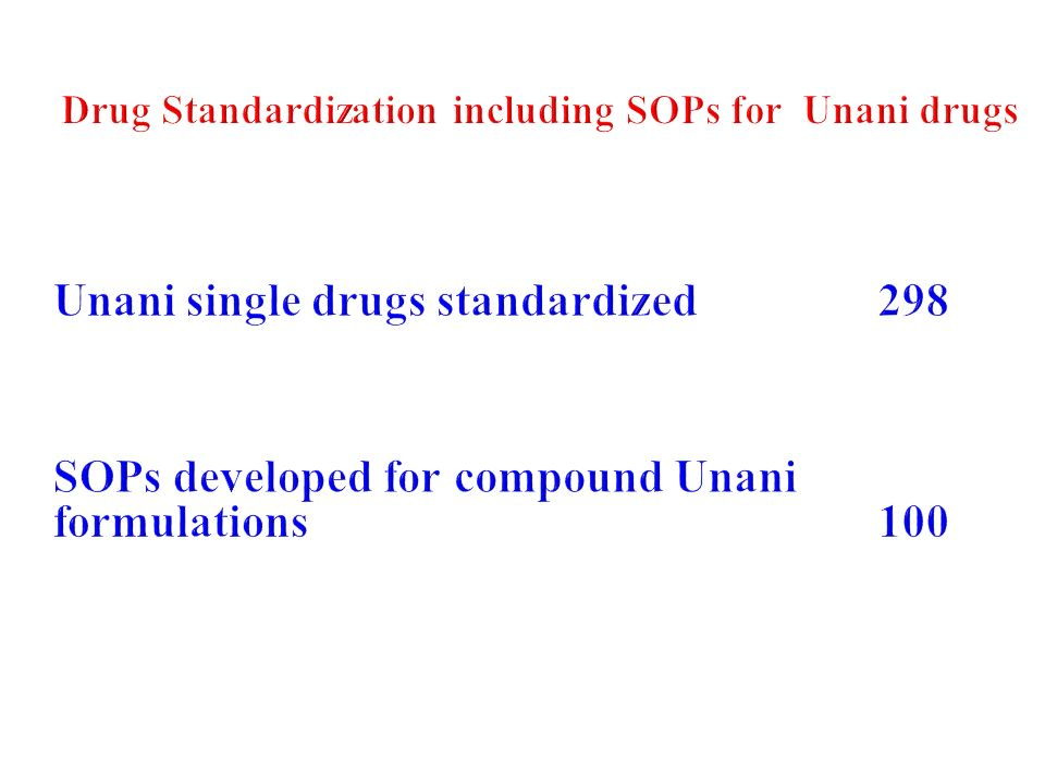Drug Standardization including SOPs for Unani drugs