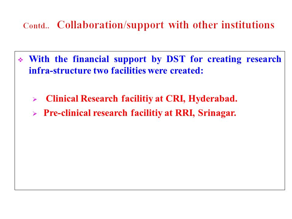 Contd.. Collaboration/support with other institutions