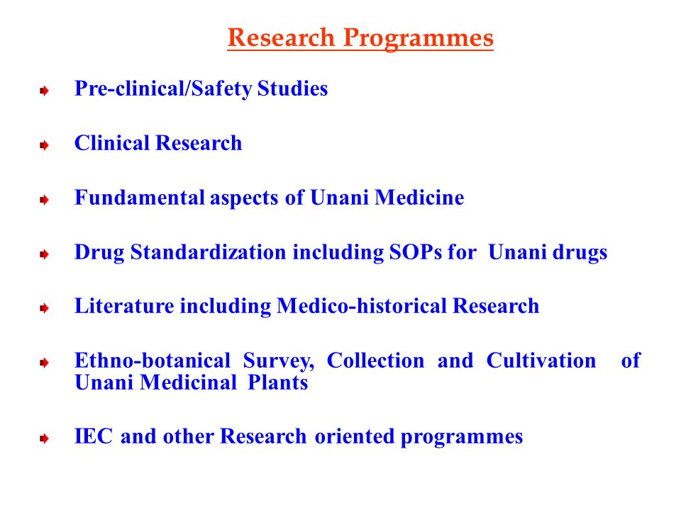 Research Programmes Pre-clinical/Safety Studies Clinical Research