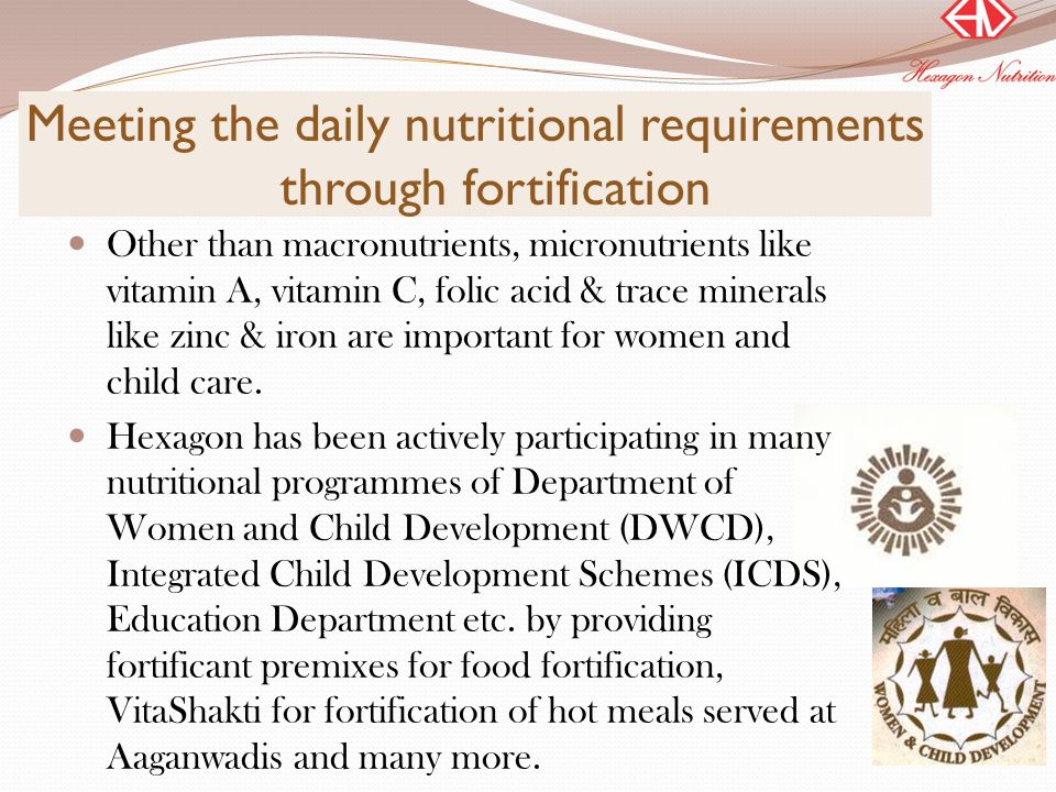 Meeting the daily nutritional requirements through fortification