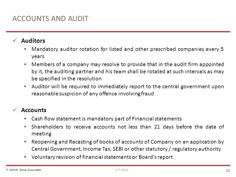 ACCOUNTS AND AUDIT Auditors Accounts