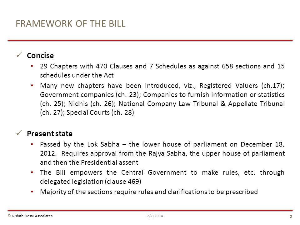 FRAMEWORK OF THE BILL Concise Present state