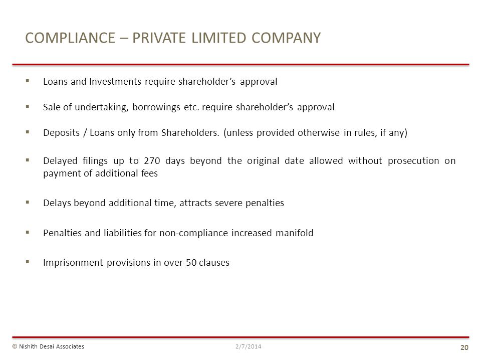 COMPLIANCE – PRIVATE LIMITED COMPANY