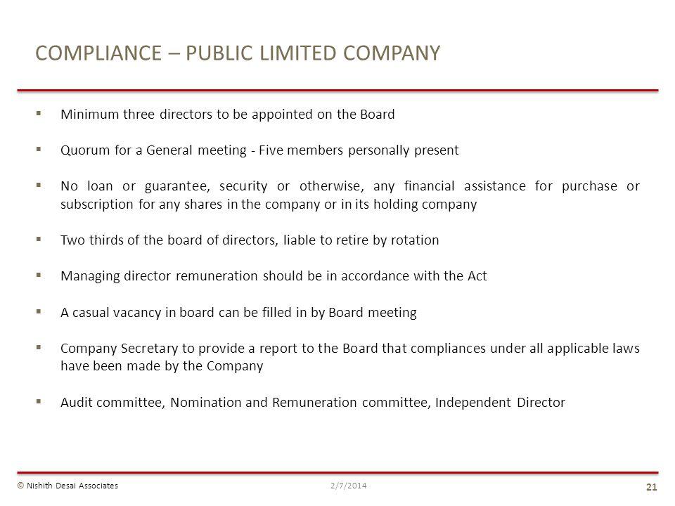 COMPLIANCE – PUBLIC LIMITED COMPANY