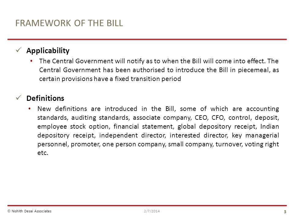 FRAMEWORK OF THE BILL Applicability Definitions