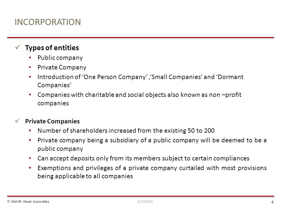 INCORPORATION Types of entities Public company Private Company