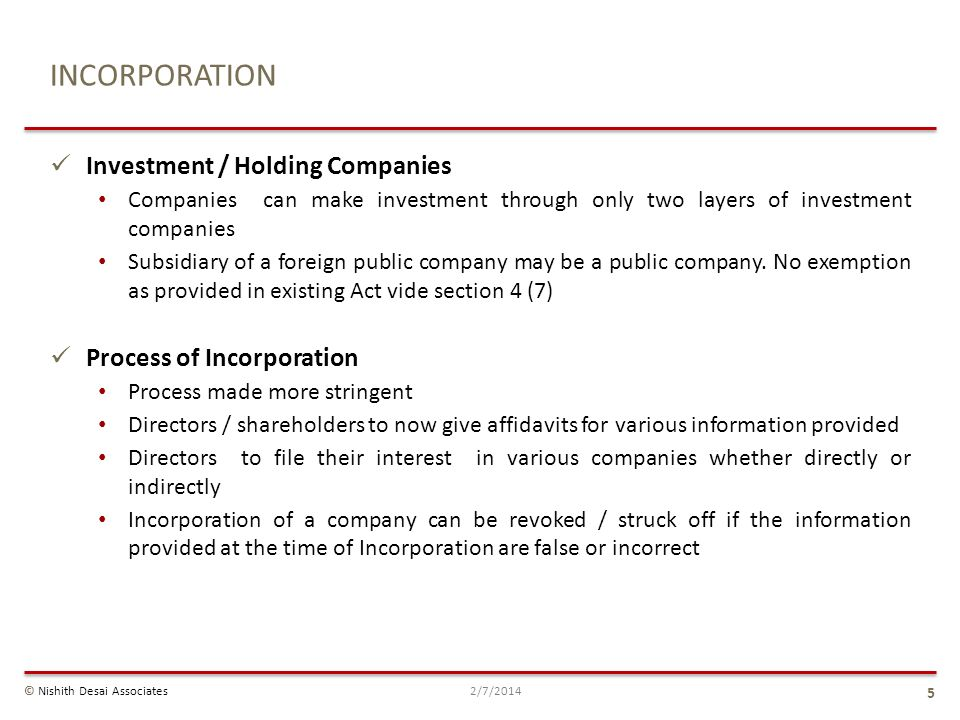 INCORPORATION Investment / Holding Companies Process of Incorporation
