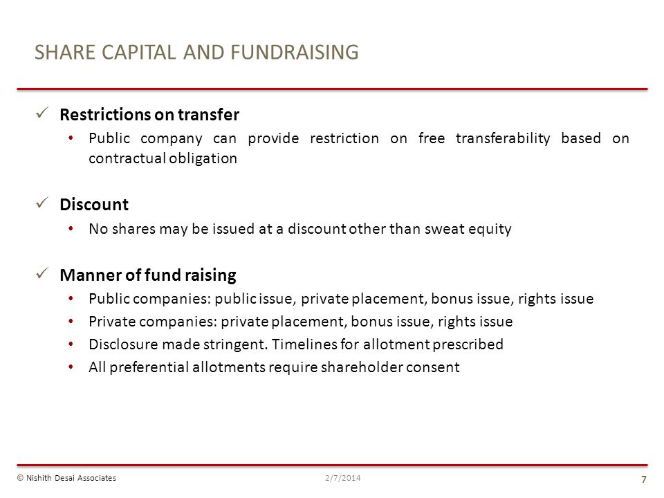 SHARE CAPITAL AND FUNDRAISING