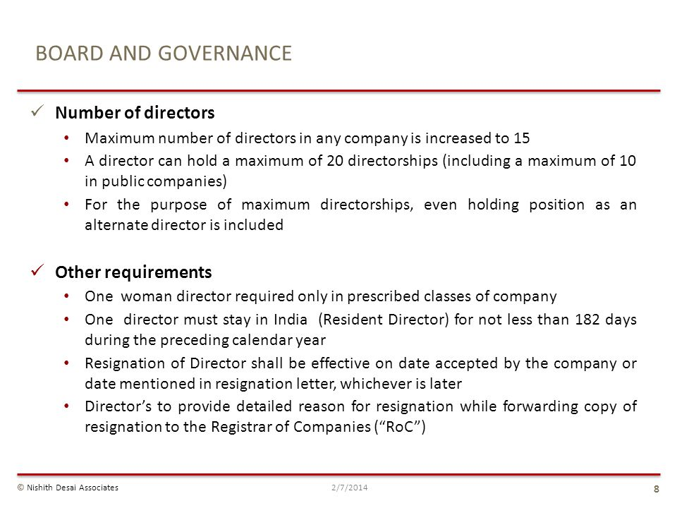 BOARD AND GOVERNANCE Number of directors Other requirements