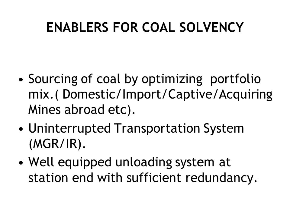 ENABLERS FOR COAL SOLVENCY