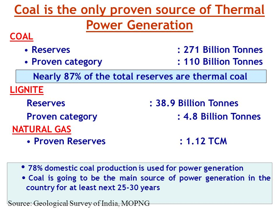 Coal is the only proven source of Thermal Power Generation