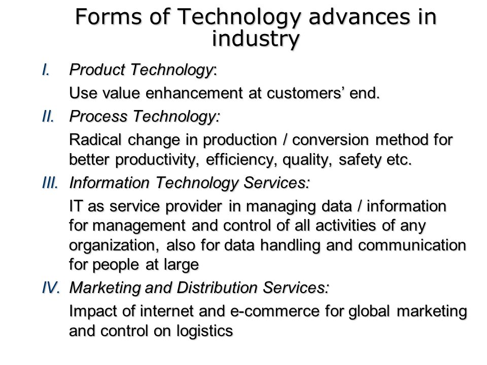 Forms of Technology advances in industry