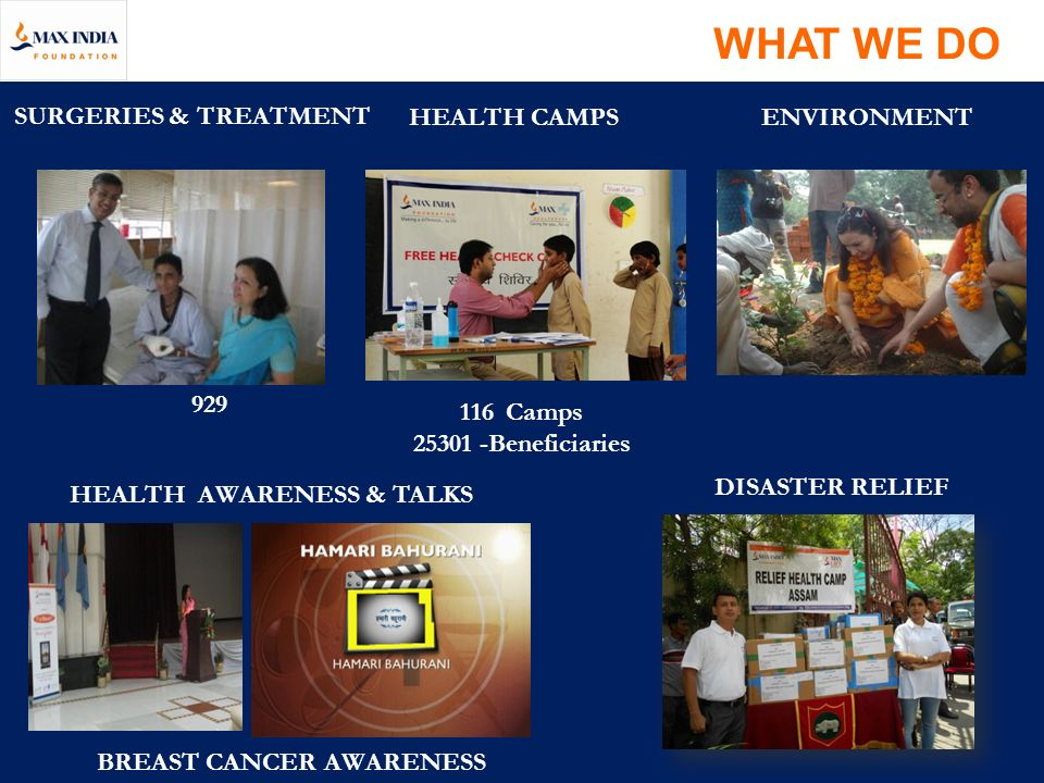 WHAT WE DO SURGERIES & TREATMENT HEALTH CAMPS ENVIRONMENT 929