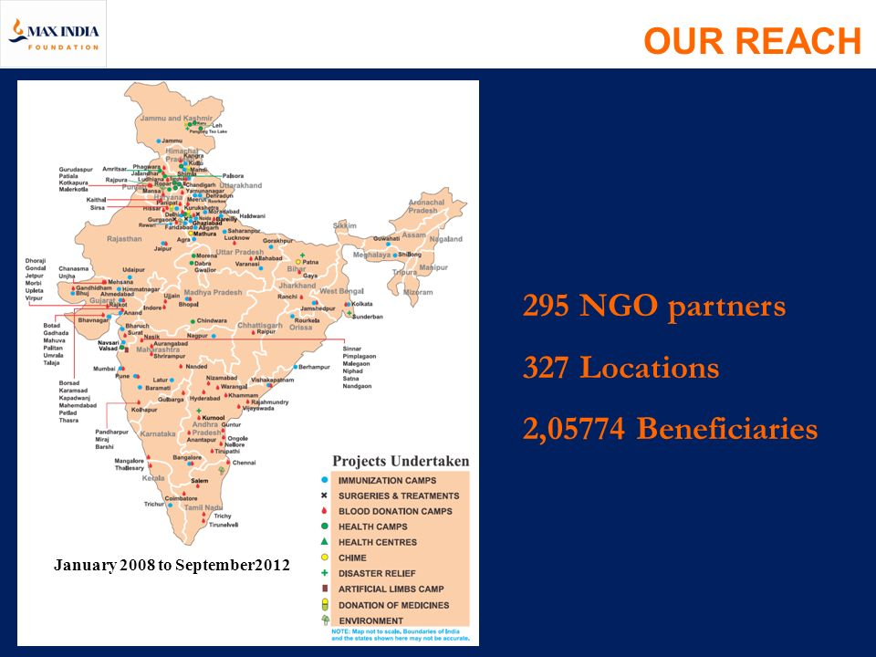 OUR REACH 295 NGO partners 327 Locations 2,05774 Beneficiaries