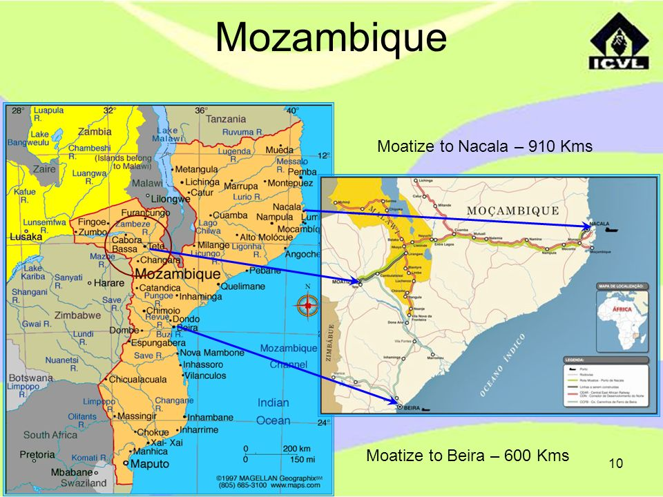 Mozambique Moatize to Nacala – 910 Kms Moatize to Beira – 600 Kms