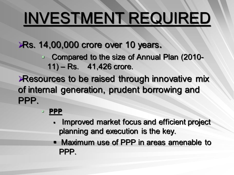INVESTMENT REQUIRED Rs. 14,00,000 crore over 10 years.
