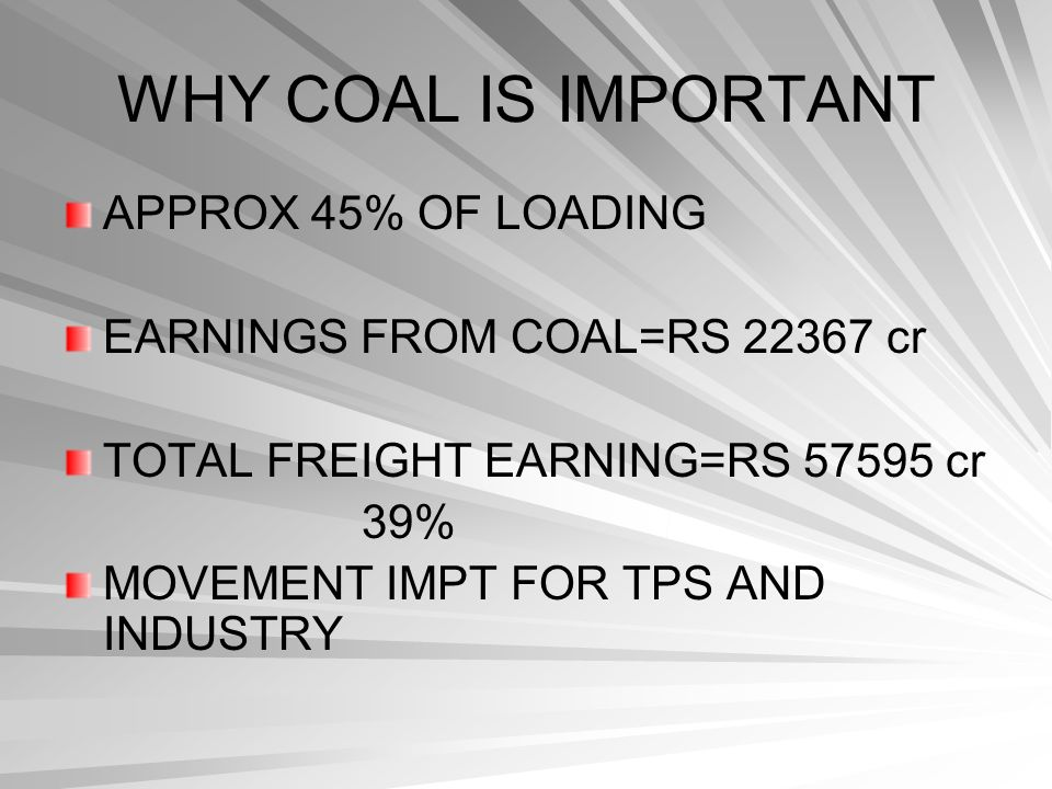 WHY COAL IS IMPORTANT APPROX 45% OF LOADING