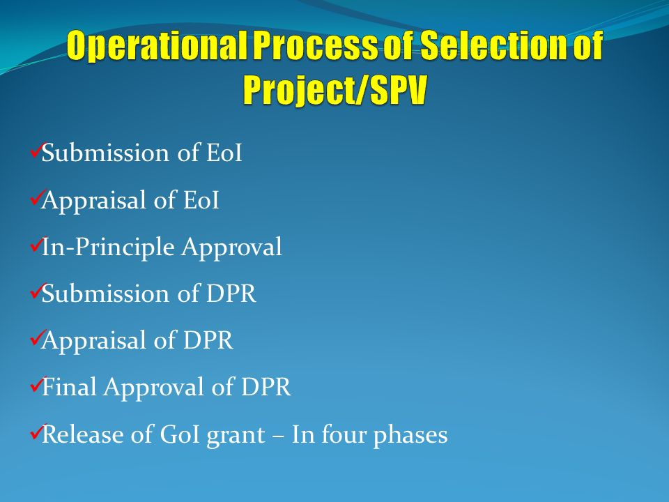 Operational Process of Selection of Project/SPV