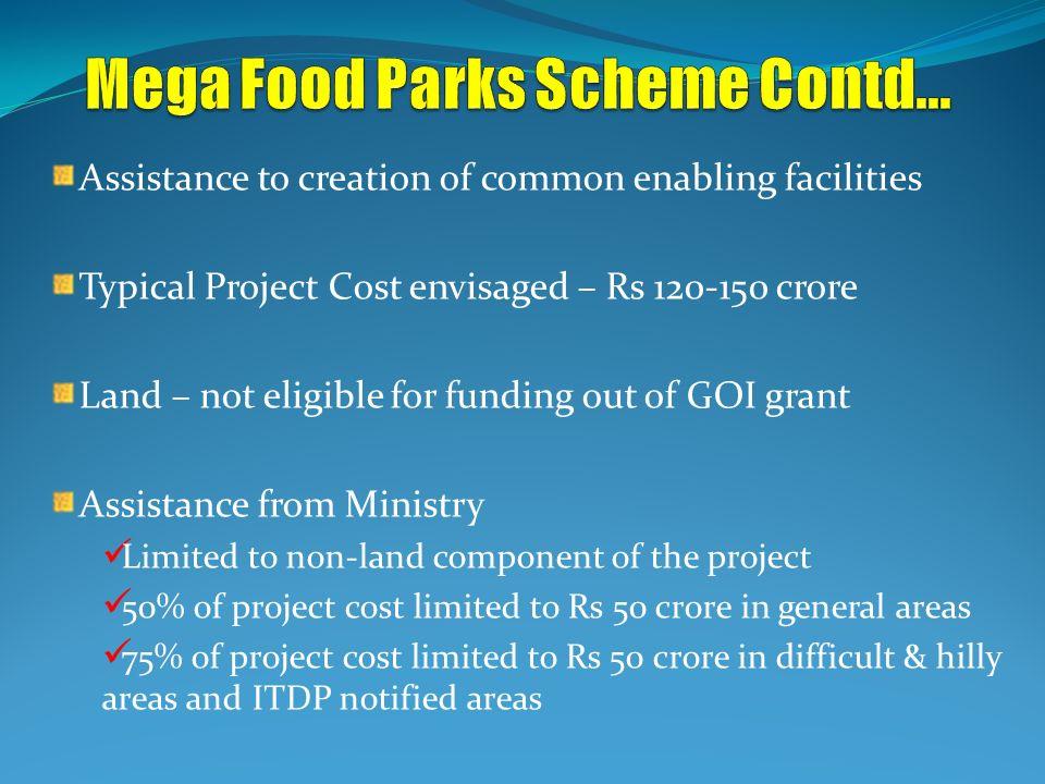 Mega Food Parks Scheme Contd...