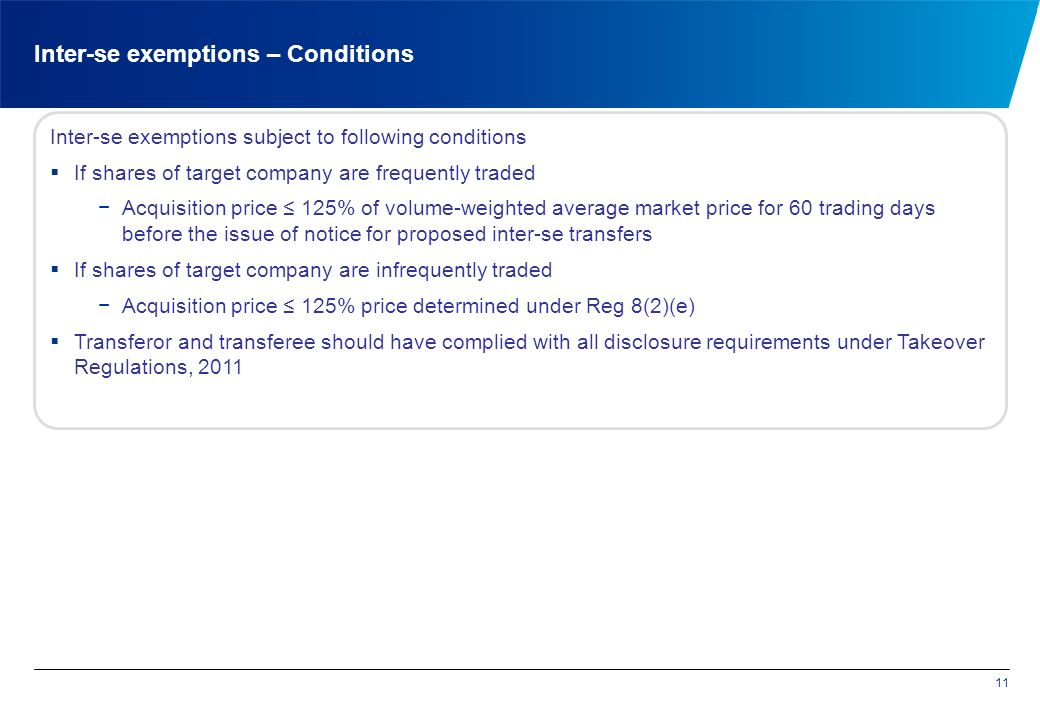 Inter-se exemptions – Conditions