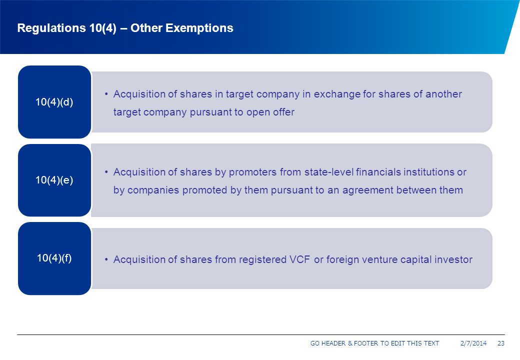 Regulations 10(4) – Other Exemptions