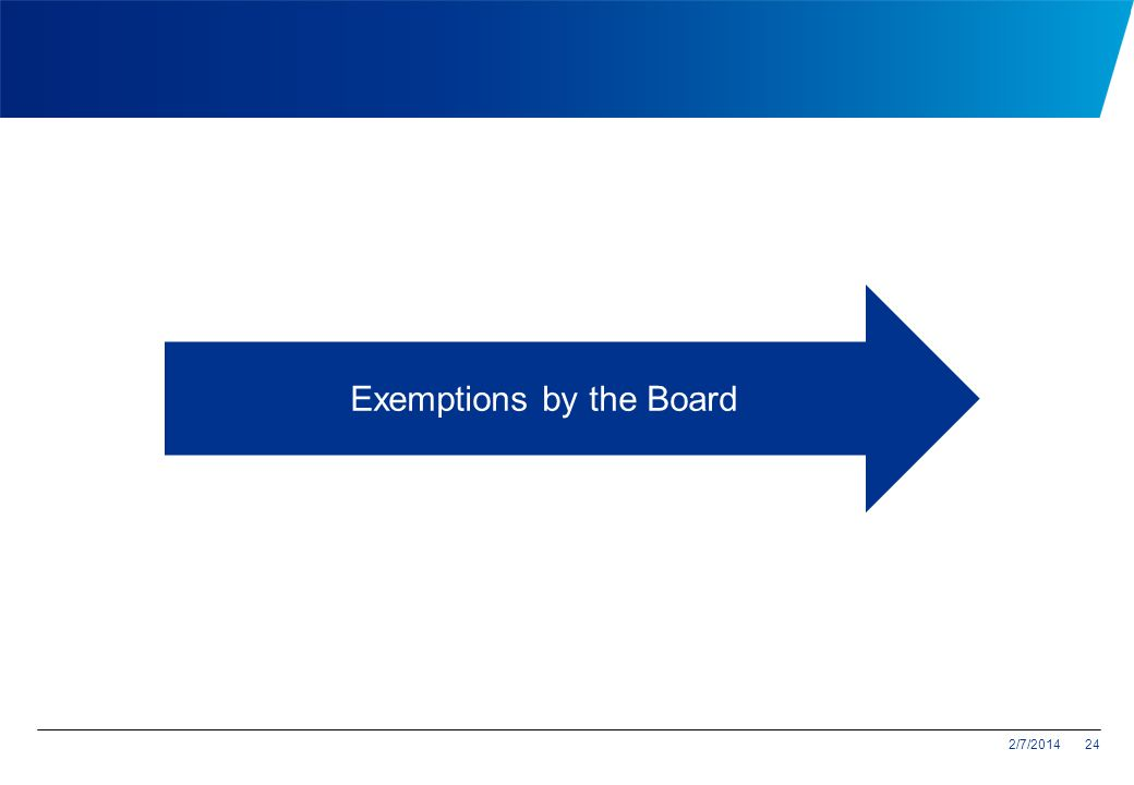 Exemptions by the Board
