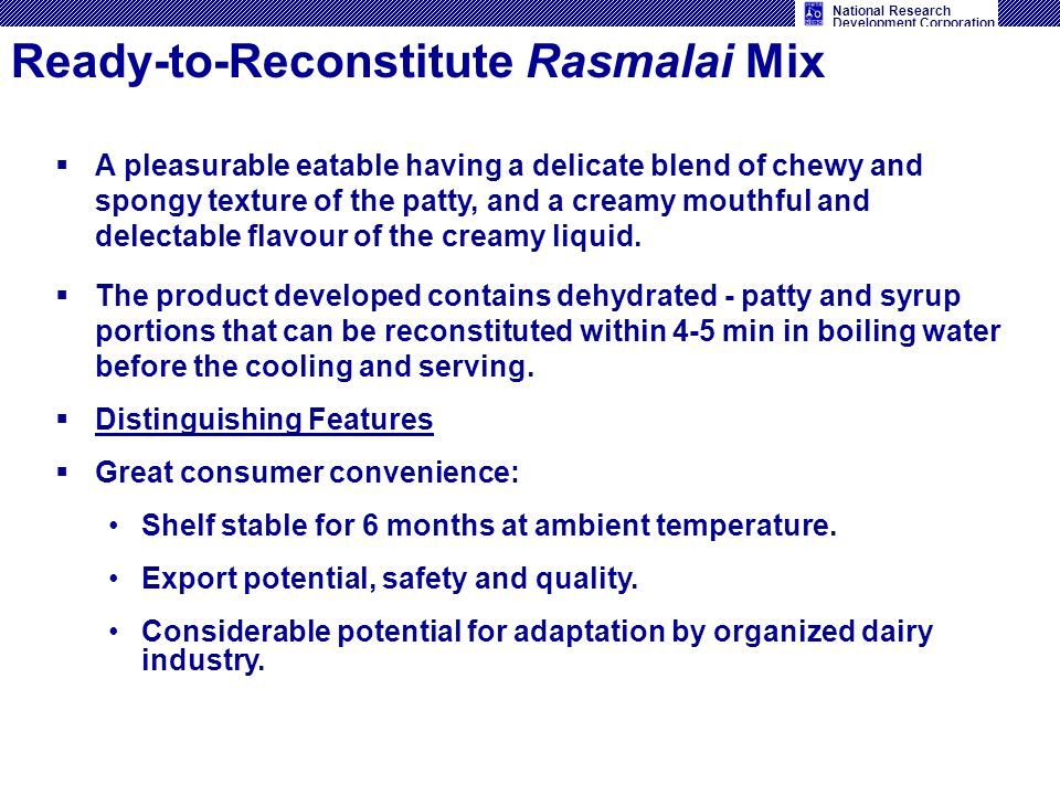 Ready-to-Reconstitute Rasmalai Mix