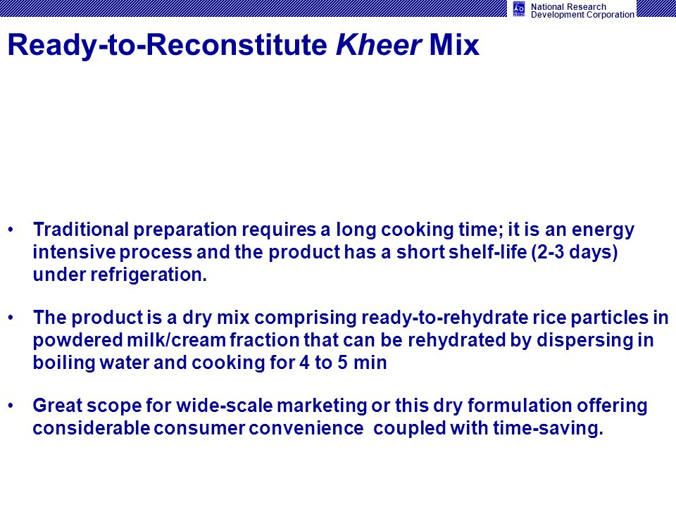Ready-to-Reconstitute Kheer Mix