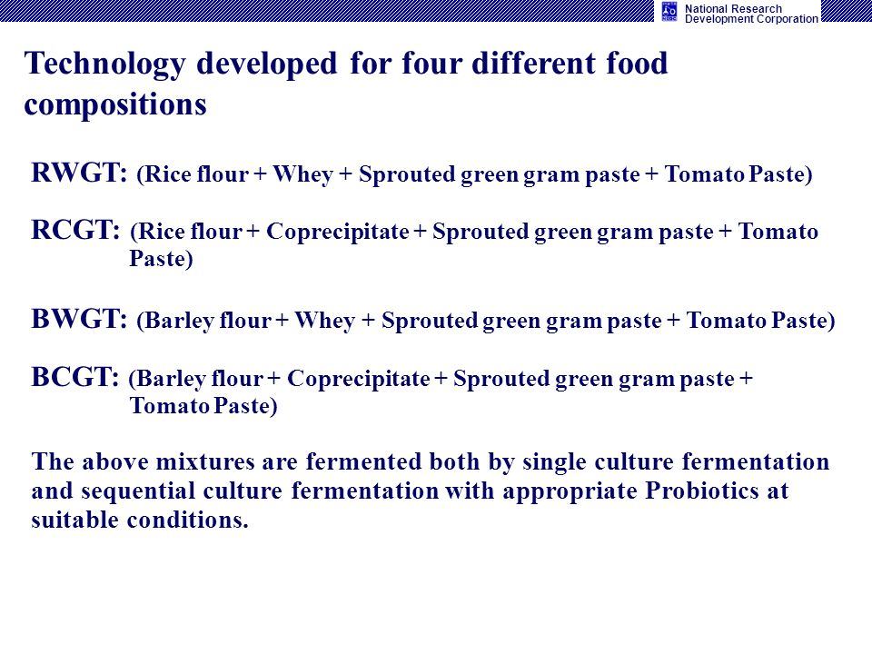 Technology developed for four different food compositions