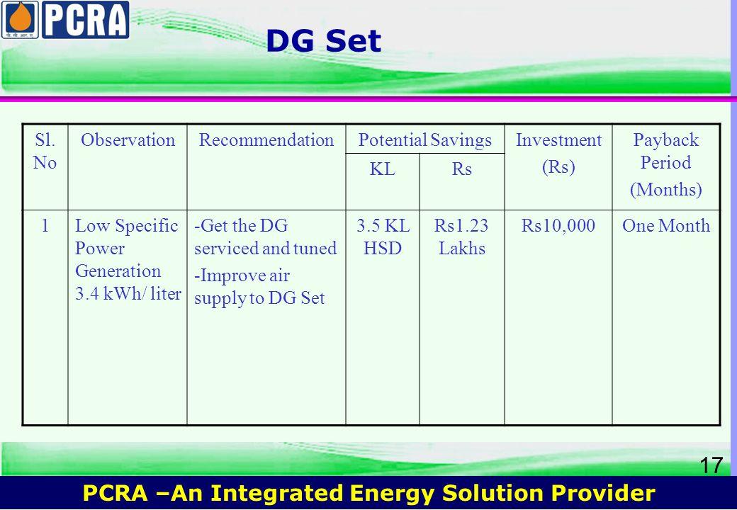 DG Set Sl.No Observation Recommendation Potential Savings Investment