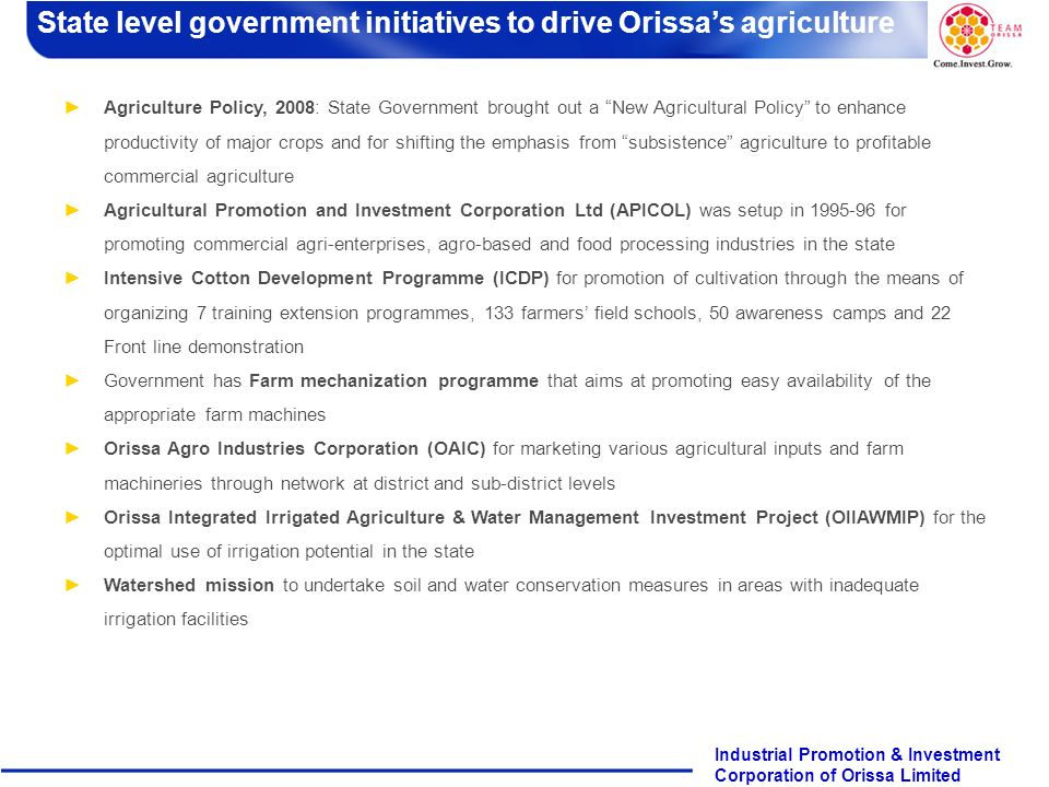 State level government initiatives to drive Orissa's agriculture