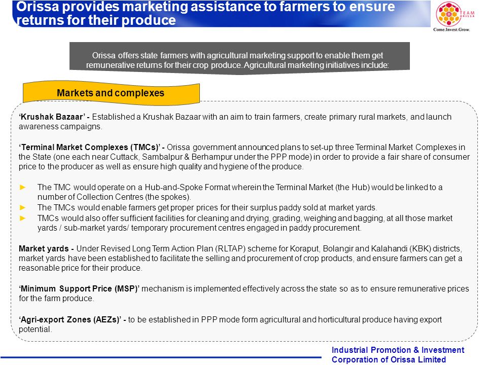 Orissa provides marketing assistance to farmers to ensure returns for their produce