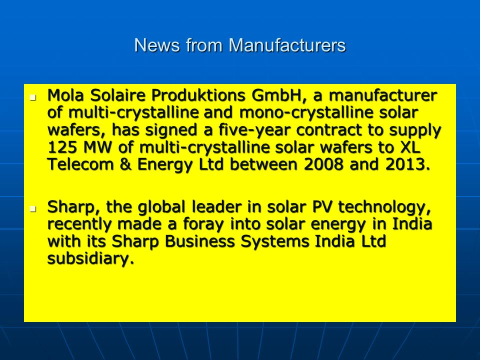 News from Manufacturers