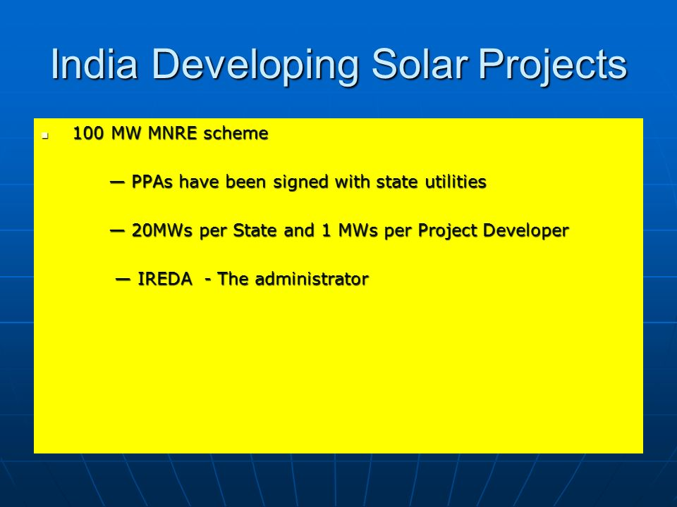 India Developing Solar Projects