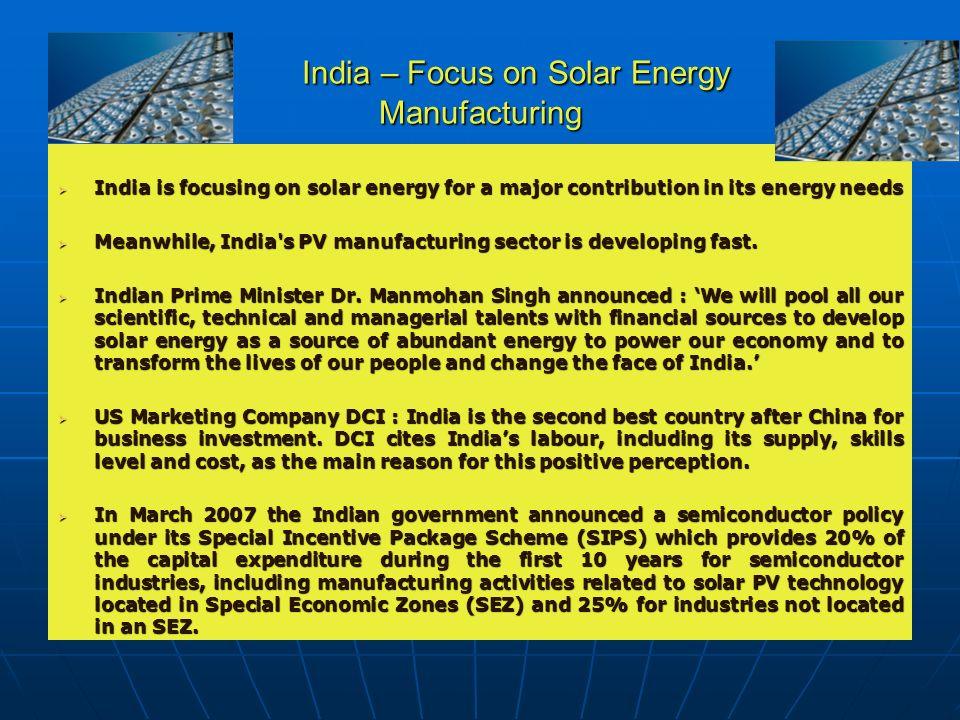 India – Focus on Solar Energy Manufacturing