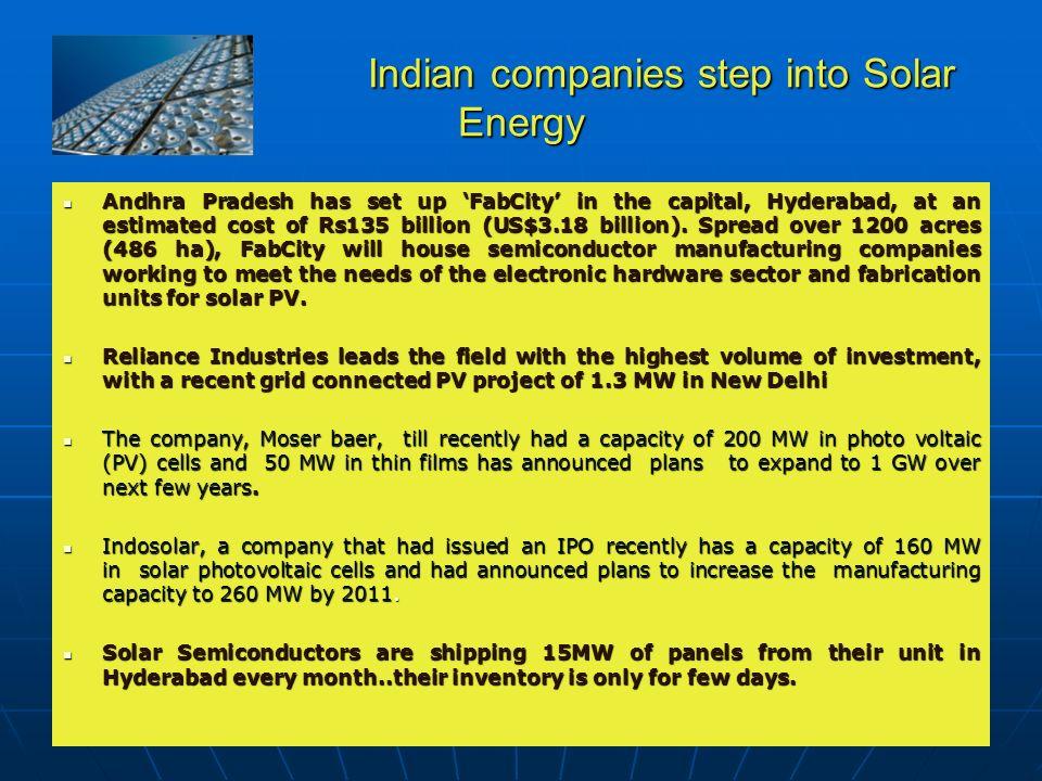 Indian companies step into Solar Energy