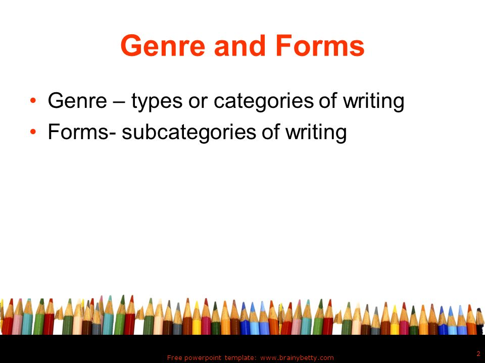 genre of writing Define genre genre synonyms, genre pronunciation, genre translation, english dictionary definition of genre n 1 a literary genre, writing style.