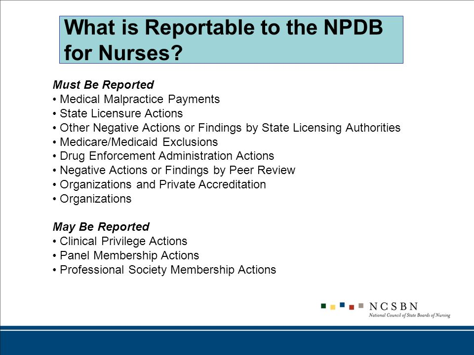 What is Reportable to the NPDB for Nurses