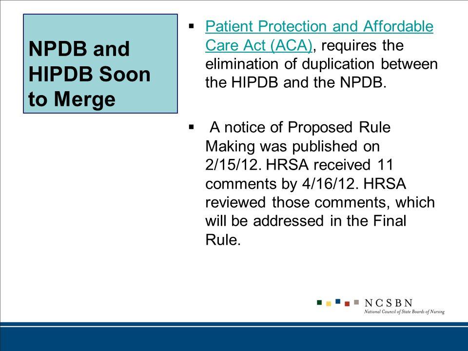 NPDB and HIPDB Soon to Merge