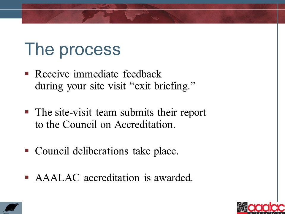 The processReceive immediate feedback during your site visit exit briefing.