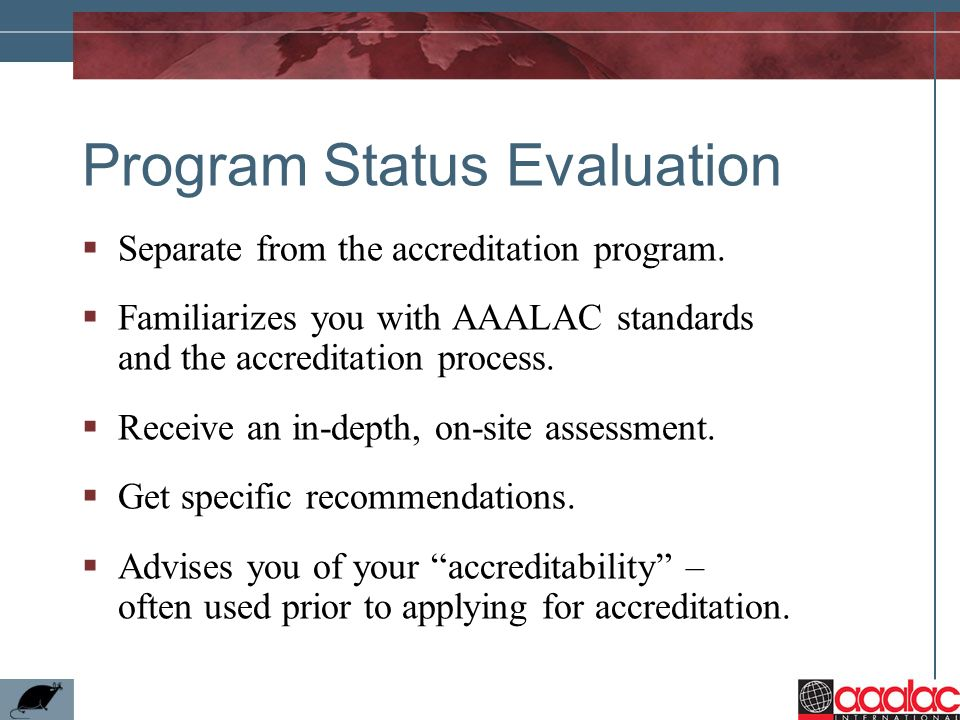 Program Status Evaluation