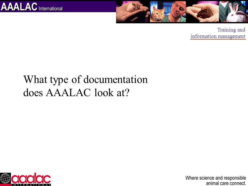 What type of documentation does AAALAC look at