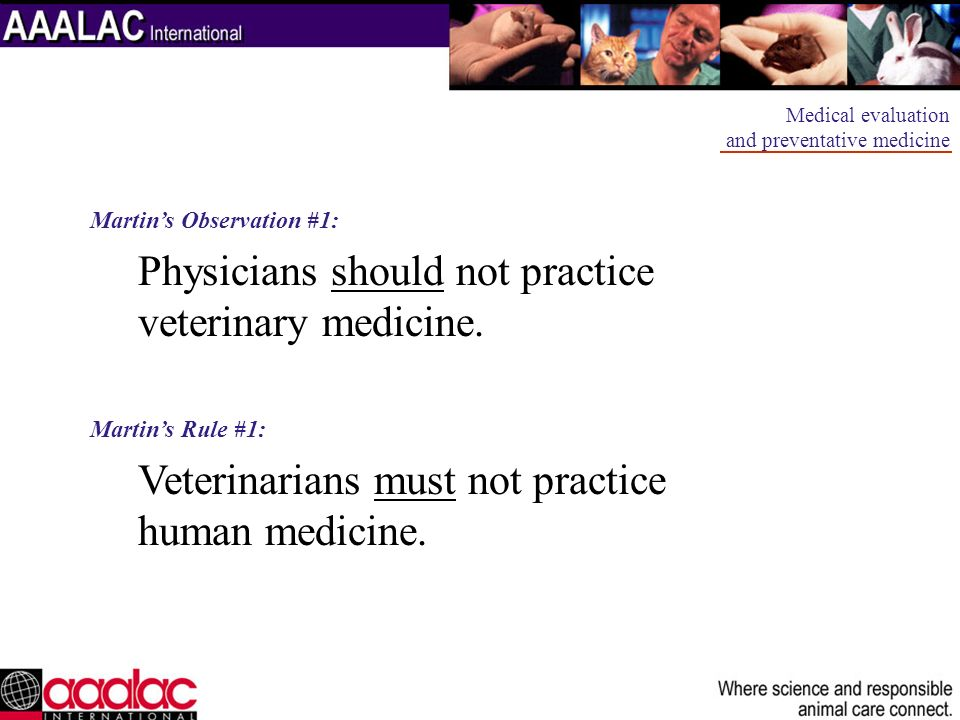 Physicians should not practice veterinary medicine.