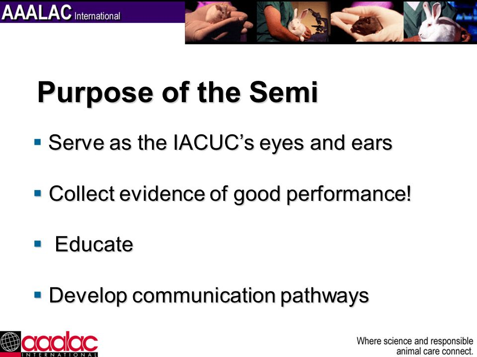 Purpose of the Semi Serve as the IACUC's eyes and ears