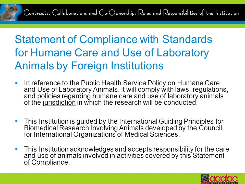 Statement of Compliance with Standards for Humane Care and Use of Laboratory Animals by Foreign Institutions