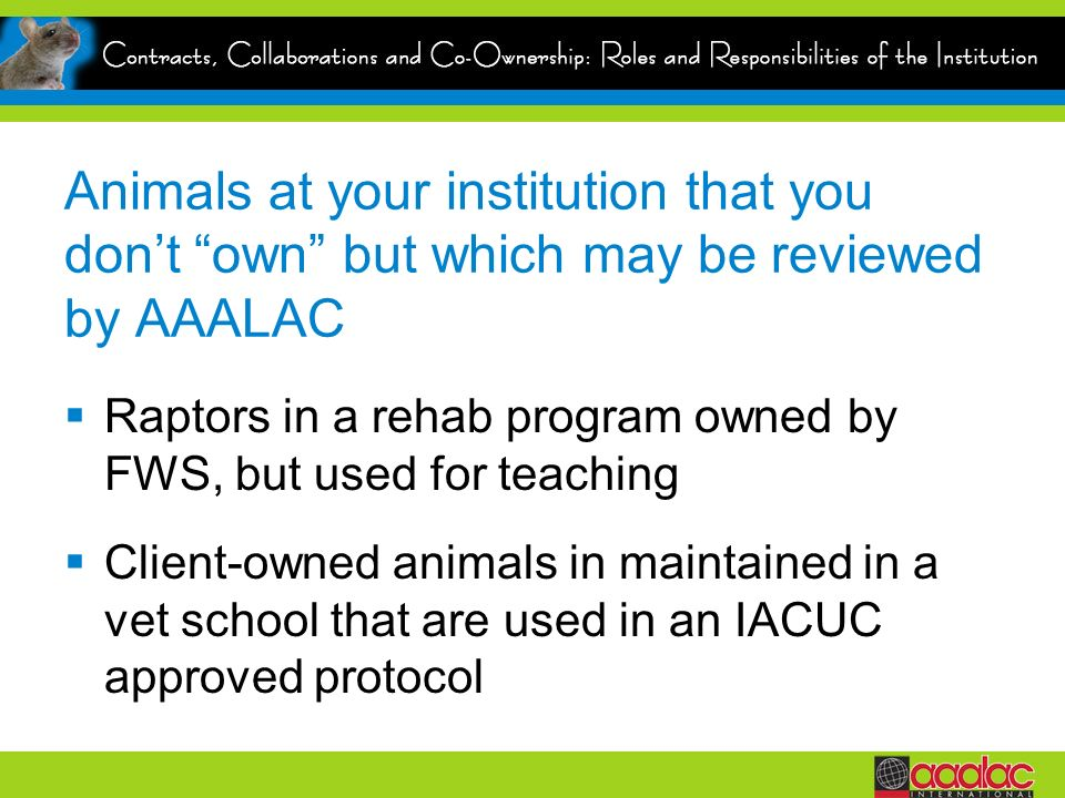 Animals at your institution that you don't own but which may be reviewed by AAALAC
