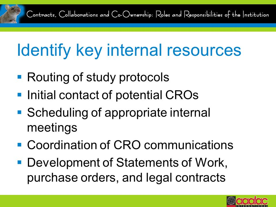 Identify key internal resources