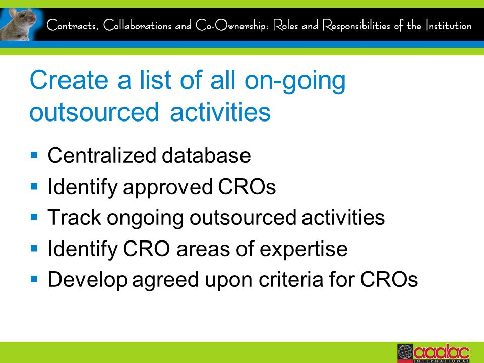 Create a list of all on-going outsourced activities