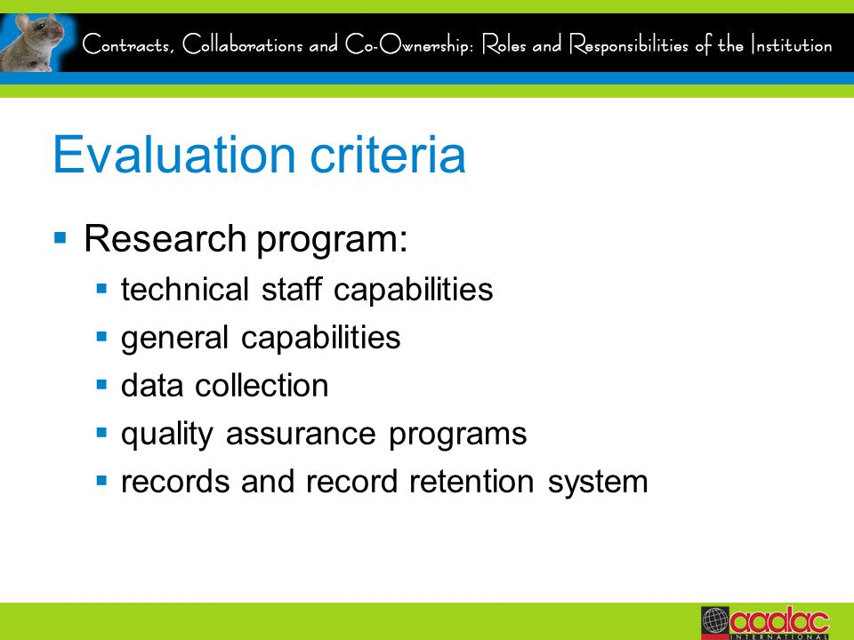 Evaluation criteria Research program: technical staff capabilities