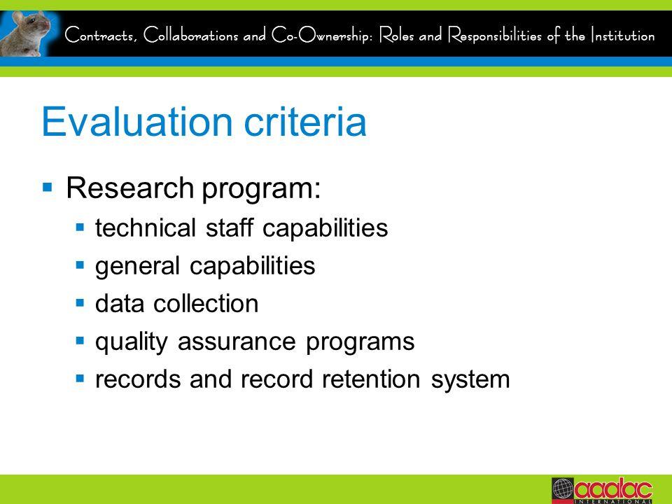 Evaluation criteria Research program: technical staff capabilities